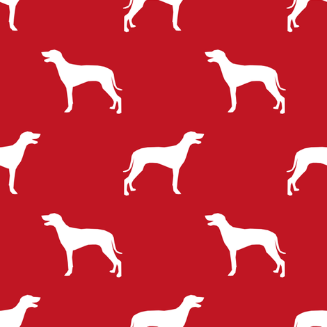 Weimaraner dog silhouette red fabric by petfriendly on Spoonflower - custom fabric