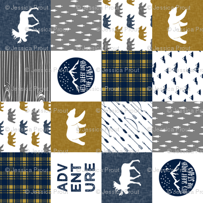the happy camper wholecloth || navy gold grey (90)