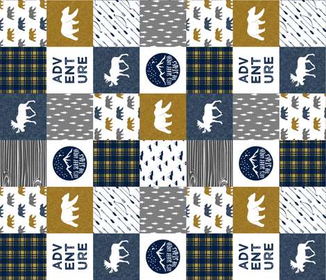 the happy camper wholecloth || navy gold grey (90) fabric by littlearrowdesign on Spoonflower - custom fabric