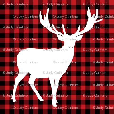 """6"""" Deer against a Red and Black Plaid Print"""