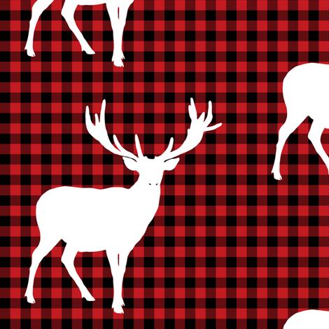 """6"""" Deer against a Red and Black Plaid Print fabric by shopcabin on Spoonflower - custom fabric"""