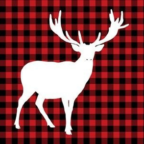 "6"" Deer against a Red and Black Plaid Print"