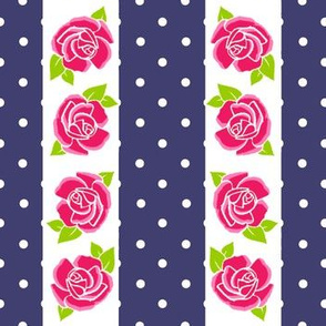 Rose on Navy Stripe with Spots