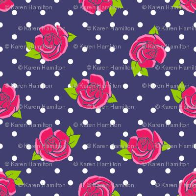 Rose on Navy white spot