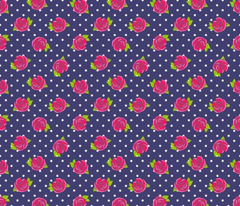 Rose on Navy white spot fabric by karwilbedesigns on Spoonflower - custom fabric