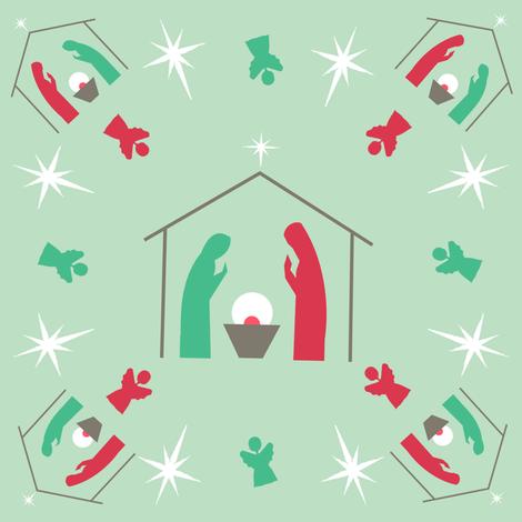 SAGE Christmas Nativity fabric by karwilbedesigns on Spoonflower - custom fabric