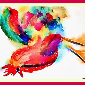 Rooster sideways