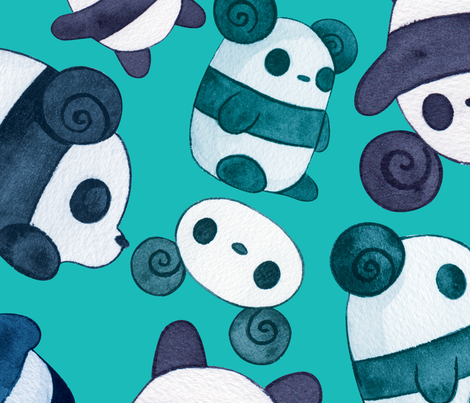 Pocket Pandas® - Teal Bears fabric by pocketpandas on Spoonflower - custom fabric