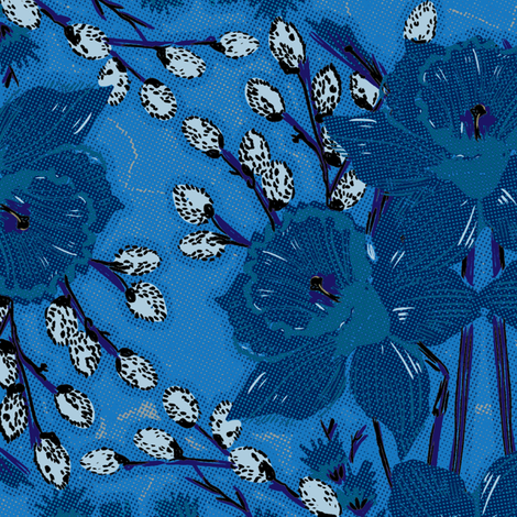 Blue Daffodils fabric by susiprint on Spoonflower - custom fabric