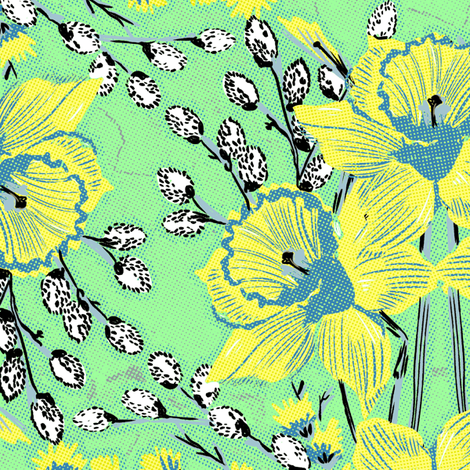 Daffodils#2 fabric by susiprint on Spoonflower - custom fabric