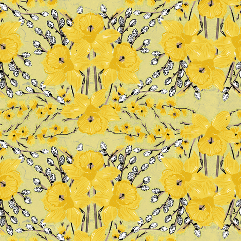 yellow daffodils small size fabric by susiprint on Spoonflower - custom fabric