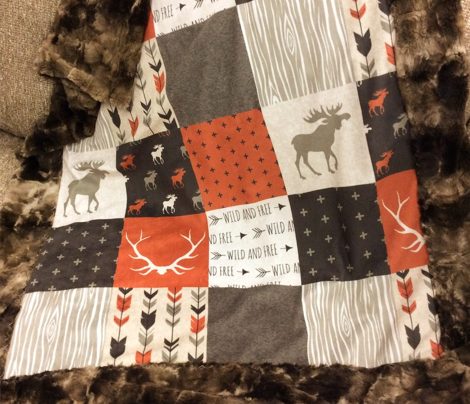 Wholecloth Quilt - Redstone Canyon - Moose, antlers, arrows, wild and free in rust, brown, tan