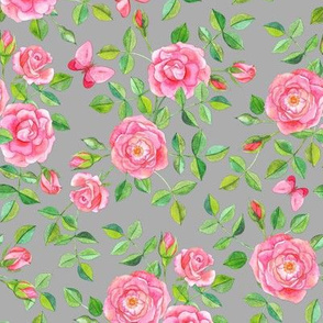 Pink Watercolor Roses & Butterflies on Pale Grey large version