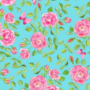 Pink Watercolor Roses & Butterflies on Turquoise large version