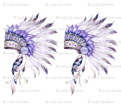 "42""x36"" / 2 to 1 Yard / Purple Headdress without Quote"