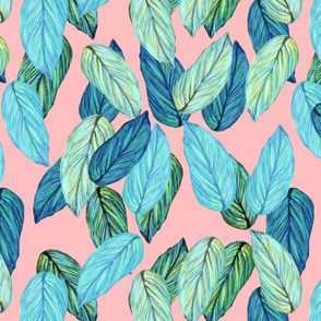 tropical palm leaves aqua blue, pink