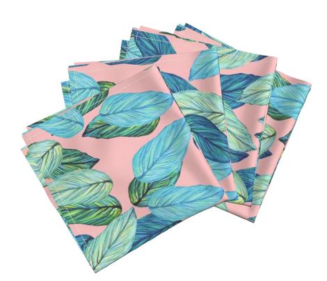 tropical_leaves_aqua_blue_on_pink
