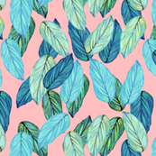 tropical_leaves_aqua_blue_on_pink
