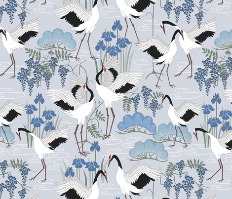 snow_dance_blue fabric by juditgueth on Spoonflower - custom fabric