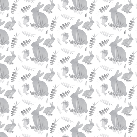 Easter Bunny Rabbit Animal Neutral || Black Gray Grey White Carrot Vegetable _Miss Chiff Designs fabric by misschiffdesigns on Spoonflower - custom fabric