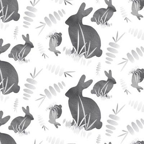 Easter Bunny Rabbit Garden Gray Neutral Animal Carrot Vegetable_Miss Chiff Designs