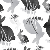 Easter Bunny Rabbit Gray Black Neutral Animal_Miss Chiff Designs