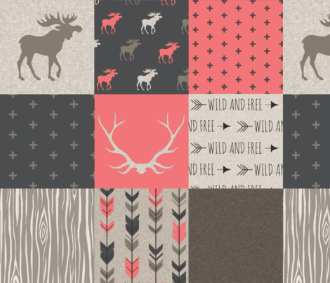 Moose Patchwork Quilt - Rose, tan and brown - Linen texture - woodl fabric by sugarpinedesign on Spoonflower - custom fabric