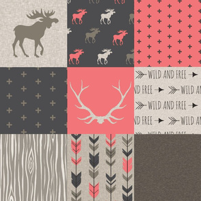 Moose Patchwork Quilt - Rose, tan and brown - Linen texture - woodl