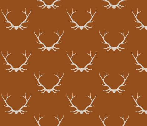 Antlers - Rust fabric by sugarpinedesign on Spoonflower - custom fabric