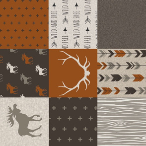 Rotated - Redstone Canyon Moose Wholecloth Quilt - Rust red,  Brown, Tan, Linen - Woodland Pat