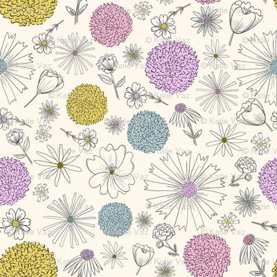 Springtime Pastel Flowers