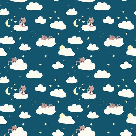 Tiny Cats Night fabric by desi_draws on Spoonflower - custom fabric