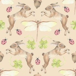 Lucky Woodlands Bunny Pattern Tan