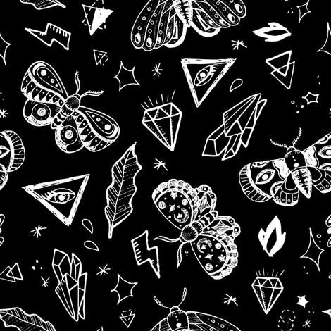 White tattoo butterflies  fabric by yuliia_studzinska on Spoonflower - custom fabric