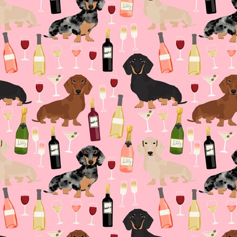 dachshund wine fabric wine and booze champagne bubbly fabric - pink fabric by petfriendly on Spoonflower - custom fabric