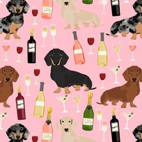 dachshund wine fabric wine and booze champagne bubbly fabric - pink