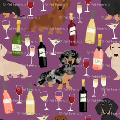 dachshund wine fabric wine and booze champagne bubbly fabric - amethyst