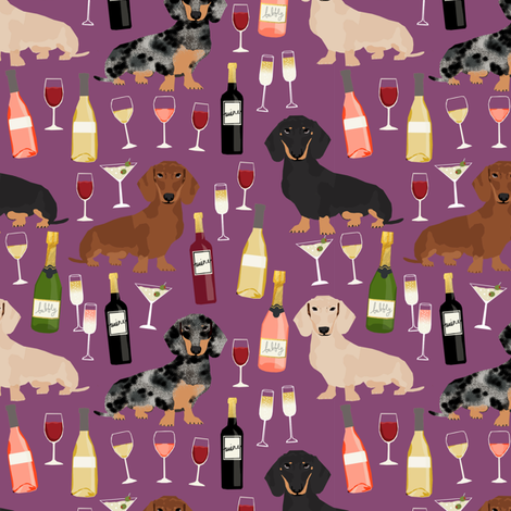 dachshund wine fabric wine and booze champagne bubbly fabric - amethyst fabric by petfriendly on Spoonflower - custom fabric