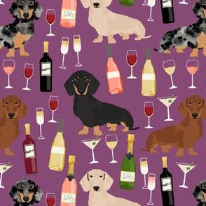 dachshund wine fabric wine and booze champagne bubbly fabric - amethyst