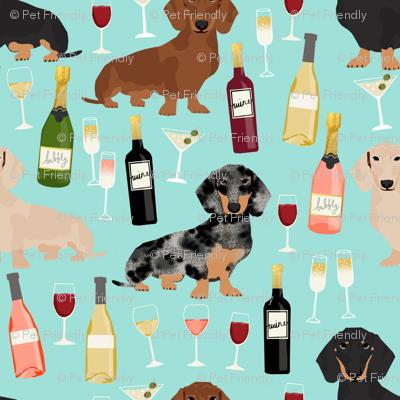dachshund wine fabric wine and booze champagne bubbly fabric - blue
