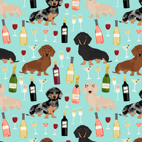 dachshund wine fabric wine and booze champagne bubbly fabric - blue fabric by petfriendly on Spoonflower - custom fabric