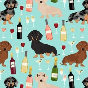dachshund wine fabric wine and booze champagne bubbly fabric - blue