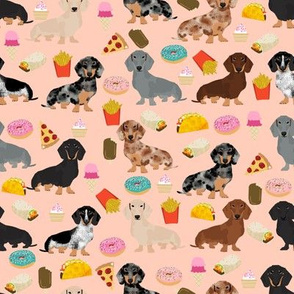 dachshund junk food fabric fries and donuts cute foods fabric - peach