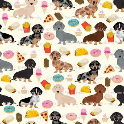 dachshund junk food fabric fries and donuts cute foods fabric - cream