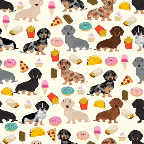 dachshund junk food fabric fries and donuts cute foods fabric - cream fabric by petfriendly on Spoonflower - custom fabric