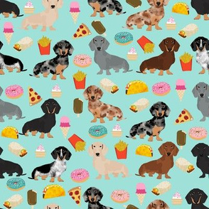 dachshund junk food fabric - light blue