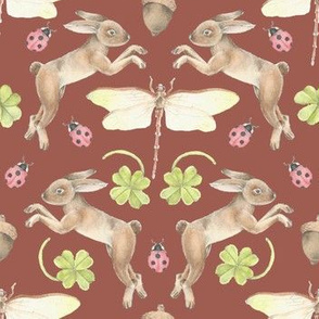 Lucky Woodlands Bunny Pattern Brown