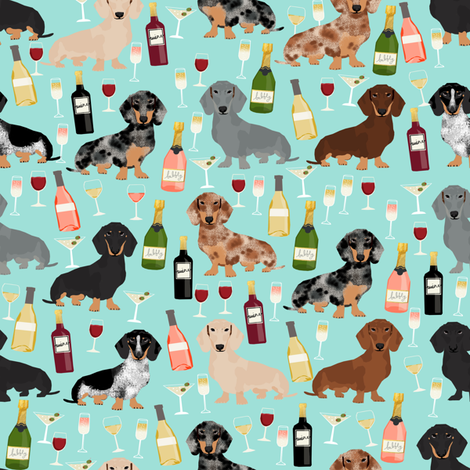 dachshund wine fabric wine and booze champagne bubbly fabric - light blue fabric by petfriendly on Spoonflower - custom fabric