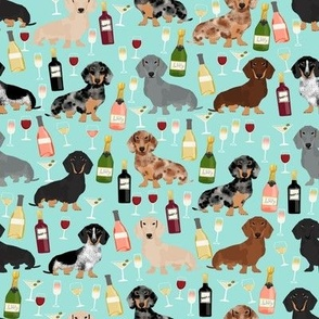 dachshund wine fabric wine and booze champagne bubbly fabric - light blue