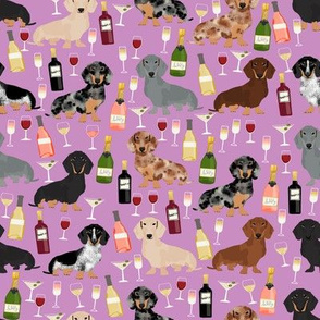 dachshund wine fabric wine and booze champagne bubbly fabric - purple